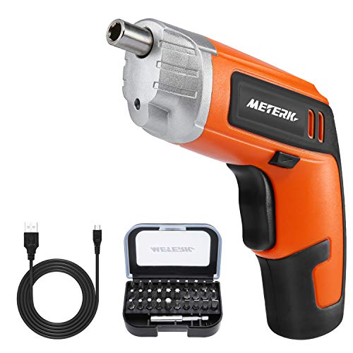 Cordless Electric Screwdriver Meterk Rechargeable Drill 36V 2000mAh MAX Torque 5Nm 30pcs Screw Bits Drill Bit Extension Holder USB Charging with LED Light