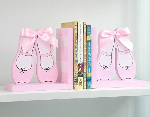子供部屋に かわいい ブックエンド リボン付き ピンクの バレエ トウシューズ モチーフ 2個セット