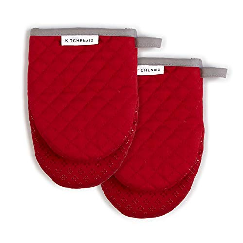 KitchenAid Asteroid Mini Cotton Oven Mitts with Silicone Grip, Set of 2, Fire Red 2 Count