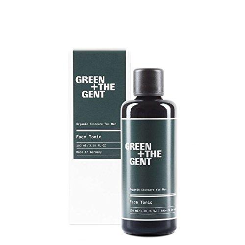 GREEN + THE GENT Tónico facial para después del afeitado y tónico facial para hombres con aloe vera, refrescante y cuidado de la piel facial, certificado ecológico, fabricado en Alemania, 100 ml