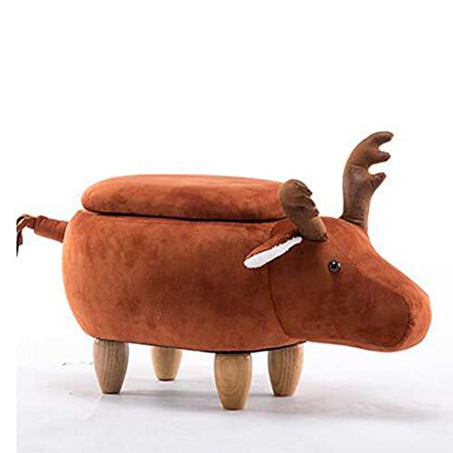 Brisk- Hocker Ändern Schuhe Massivholz Hirsch Tier Ändern Schuhe Lagerung Niedrige Sofa Bank Test Schuhe Kreative Kleine (Farbe : Storage-Earthy red)
