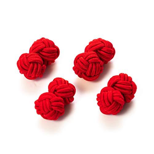 Hersteller: Bull & Drake 2 Paar Seidenknoten Manschettenknöpfe Stoffknoten Cufflinks Knötchen rot, London Gentleman