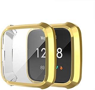 اكسسوارات الساعة الذكية لساعة Fitbit Versa Lite الذكية تغطية كاملة غطاء TPU واقية القضية (أسود) ذهبي
