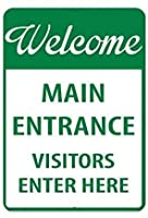 金属錫徴候歓迎主な入口訪問客は、ここにセキュリティ署名を入力します
