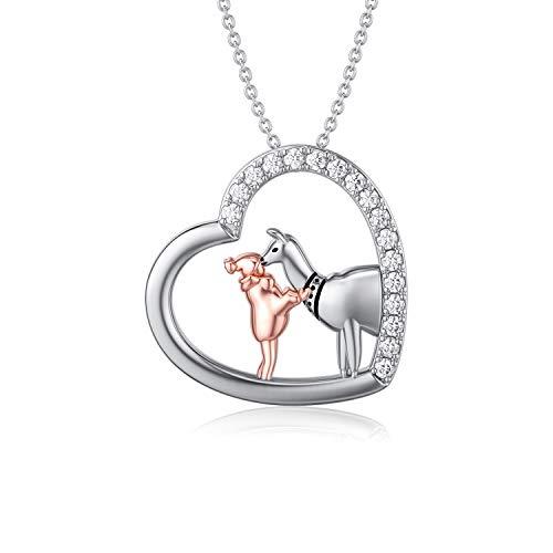 ROMANTICWORK Alpaca Llama Gifts - Collar de plata de ley 925 con colgante de corazón de animal, joyería para mamá, hija, mujeres y niñas
