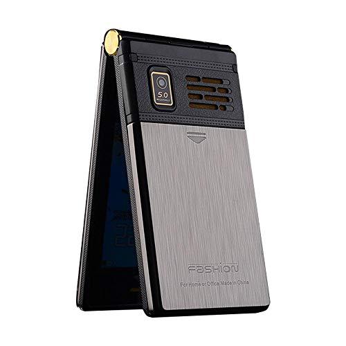 Peedeu Flip - Teléfono móvil libre con tapa y botón SOS, 3.0 pulgadas, sin SIM, doble stand, fácil de usar, Clamshell para personas mayores, color plateado