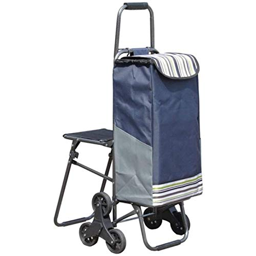 ZHANG Wheels Lightweight Folding Funky Shopping Trolley Luggage Bag Comes,Blue