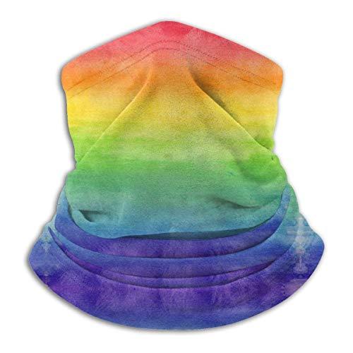 LCYYDECO Bienvenido Rainbow Stripe Tubo de microfibra Calentador de cuello Cubierta facial Escudo Bandana protectora Diadema y gorro
