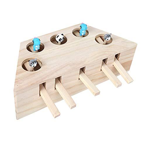 Ponacat Katzenjagdspielzeug, Cat Interactive Whack a Mole Maus Übungsspielzeug, Holzpuzzle Box Maus Katzenpunschspiel (3 Löcher)