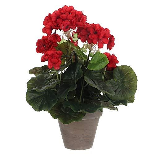 MICA Decorations 975161 Vaso di Fiori Artificiali, con gerani di Grandi Dimensioni, Colore: Rosso