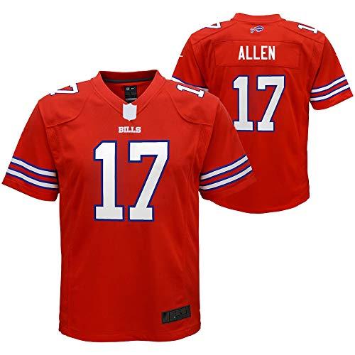 WOPOO Jungen Trikot 17# American Football Josh Allen Bills Jersey Fans Sportswear BuffaloEmbroidered Print Top Kurzarm - Rot