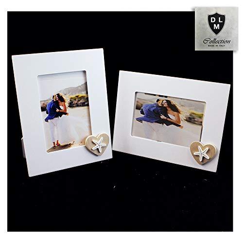 DLM30109 Bomboniera Portafoto Cornice Quadretto Legno con Cuore Stella Marina Bianca Mare Matrimonio Nozze (22_x_17_cm)