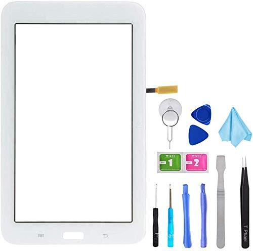 Tefir Blanco Pantalla táctil de Cristal para Samsung Galaxy Tab 3 Lite 7.0 T110 SM-T110 (sin LCD) con Adhesivo y Herramientas