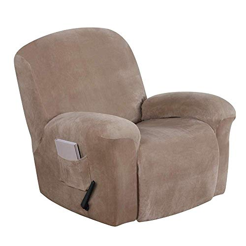 HJYSQX Fundas elásticas para sofá reclinables, 4 piezas, durables, de terciopelo suave, de felpa, para sofá, antideslizante, fundas para sofá, fundas para sillón reclinable, color gris pardo