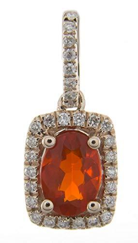 Gin & Grace 14K de oro rosa diamante natural (I1, I2) y Natural del ópalo de fuego mexicano colgante Declaración de la Mujer