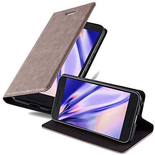 Cadorabo Hülle für LG Nexus 5X - Hülle in Kaffee BRAUN – Handyhülle mit Magnetverschluss, Standfunktion & Kartenfach - Case Cover Schutzhülle Etui Tasche Book Klapp Style