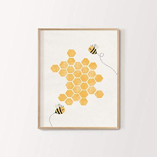 MG global Impresión de abejas de panal, decoración de guardería, póster de abeja, tema de la guardería de abejas, descarga digital imprimible, sin marco, regalo de Pascua Gilf