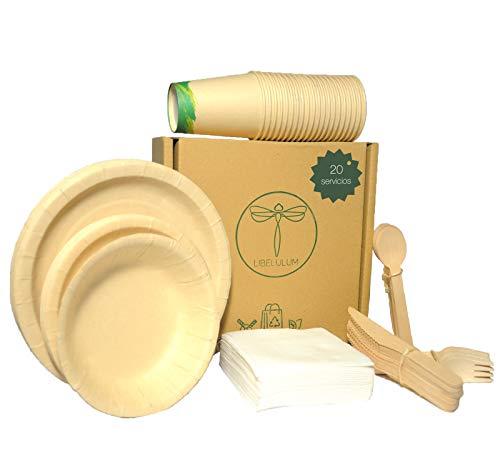 LIBELULUM Pack Vajilla Desechable Biodegradable de 20 servicios. Incluye vasos y platos...