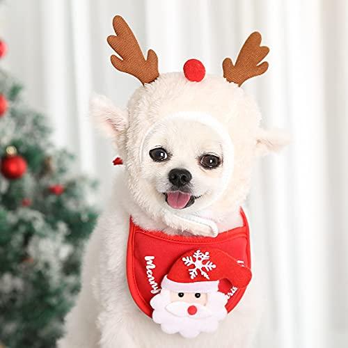 Cachorro, Gorro de Perro de Navidad, Gorro de Perro con Cabeza de Perro, Gorro de Gato, Disfraz de Perro de Navidad, Lindos Disfraces de Navidad para Gatos, Perros y Cachorros. (Blanco, L)