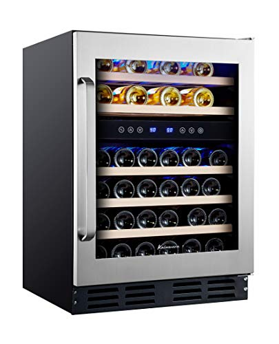 Kalamera 24'' Wine Cooler Refrigerator 45 Bottle - Dual Zone Built-in or Freestanding Fridge with Seamless Stainless Steel & Triple-Layer Tempered Reversible Glass Door and Temperature Memory Function