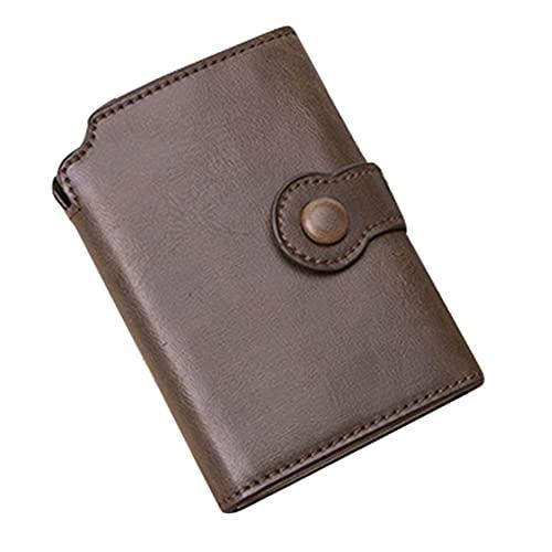 SIGNABOT Cartera del Soporte de la Tarjeta de CréDito Billetera de Seguridad con Bloqueo RFID para Hombres y Mujeres Unisex de Negocios (Color Café)