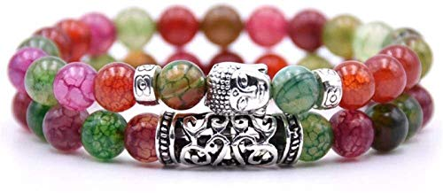 Plztou Pulsera de Piedra Mujer, 7 Chakra Piedra Natural Turmalina Brazalete Brazalete Elástico Yoga Lucky Bracelet Silver Buddha Joyería para Damas Regalo de Pareja de Navidad