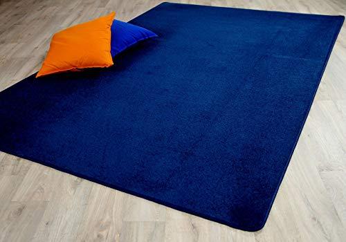 Trend Velour Teppich Joy Dunkelblau in 24 Größen