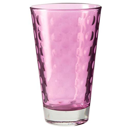 Leonardo Optic Trink-Gläser 6er Set, spülmaschinengeeignete Wasser-Gläser, bunte Trink-Becher mit Muster, Saftgläser-Set, lila, 300 ml, 018004