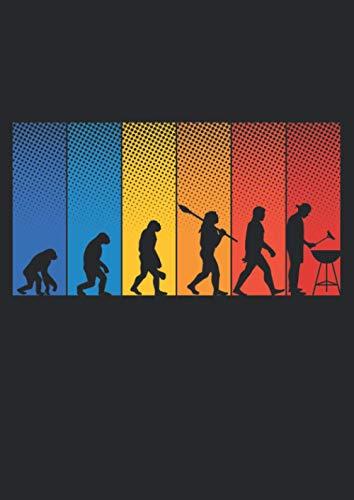 Notizbuch A4 kariert mit Softcover Design: Vintage Evolution vom Affen zum Griller Männer Geschenk: 120 karierte DIN A4 Seiten