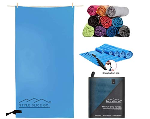 Style Slice Go Microfiber Towel - Quick-dry Lightweight Super Absorbent Travel Towel for Sports Beach Gym Camping Hiking Drying Pets - Small Medium Large and X-Large (Light Blue, Medium 150cm x 80cm)
