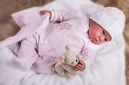 Muñecas Antonio Juan- MUÑECA Reborn 55 CM Pijama Rosa con Manta Y Peluche, Multicolor (8151)