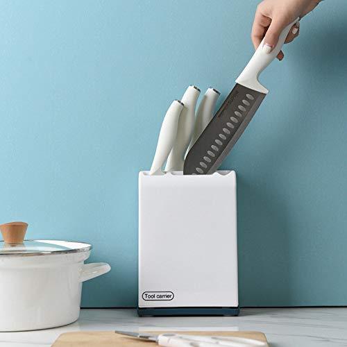 Herramienta de soporte de puntos: soporte de cuchillo de cocina - soporte rectangular, almacenamiento, cuchillo de placa delgada - herramientas grandes y pequeñas y utensilios de cocina (blanco)