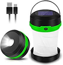 Solar Powered LED Camping Lantern-Solar or USB Chargeable, Portable Chargeable Collapsible LED Camping Lantern, Solar Tent Lamp Flashlight Emergency Charger for Hiking Camping Tent Hunting ( Green)