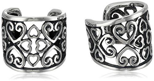 Sterling Silver Oxidized Celtic Heart Knot Ear Cuffs
