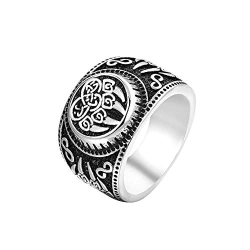 VUJK Anillo de oso con símbolo vikingo de acero inoxidable 316L para hombre anillo de acero inoxidable con talismán anillos de joyería de amuleto 7