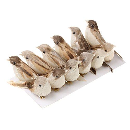 MagiDeal 12pieces Modelo de Pájaro Artificial Pluma de Pájaros Arbolado Decoración Jaulas Ornamentos Hogar