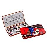 SUITCAN 24 tarjetas de juego para Nintendo Switch o tarjetas de memoria Micro SD, accesorio de almacenamiento plegable, soporte de cartuchos rígido, resistente a los golpes, impermeable (Mario)