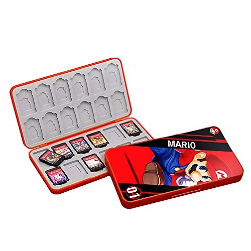 SUITCAN 24 Spielkarten-Aufbewahrungstasche für Nintendo Switch oder Micro SD-Speicherkarten, faltbares schützendes Aufbewahrungszubehör Hartschalen-Kartuschenhalter, stoßfest wasserdicht (Mario)