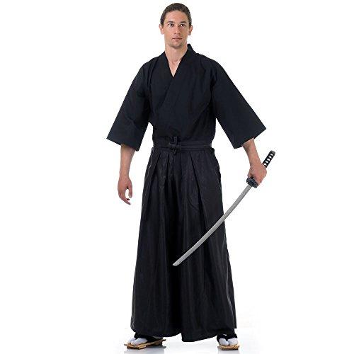 Princess of Asia Japan Samurai Iaido Outfit Set Kendo Gi Kimono & Hakama Hose (Schwarz & Schwarz)