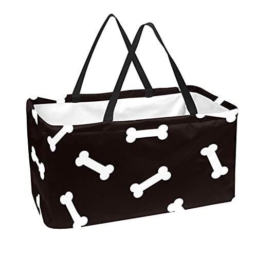 Cesta De Almacenamiento Perro Blanco Negro Bolsas De Almacenamiento Plegable Organizador De Juguetes Con Asa 56x29x32 cm