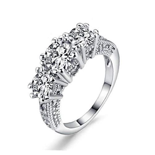PiniceCore Frauen Verlobungsring Weiß Saphir-Dame-Finger-Ring 10k Weißes Gold Füllte Ring Schmuck Ehering DREI Stein Verlobungsring Größe 8