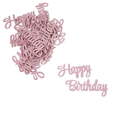 Oblique Unique® Konfetti Set Happy Birthday - 12x Happy + 12x Birthday - Tisch Deko für Geburtstag Kindergeburtstag Mädchen in Rosa mit Glitzereffekt