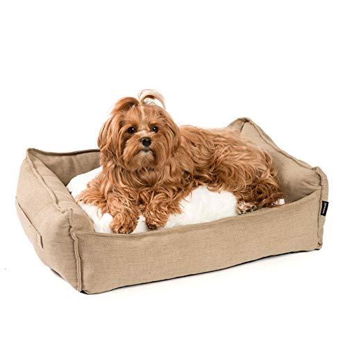 JAMAXX Premium Hundebett in edler Leinen-Optik/Orthopädisch Memory Visco Schaumstoff/Waschbar Bezug Abnehmbar, mit Wendekissen, Hochwertiger Hunde-Korb Hundekörbchen S-XL (S) 65x50 Coffee-beige