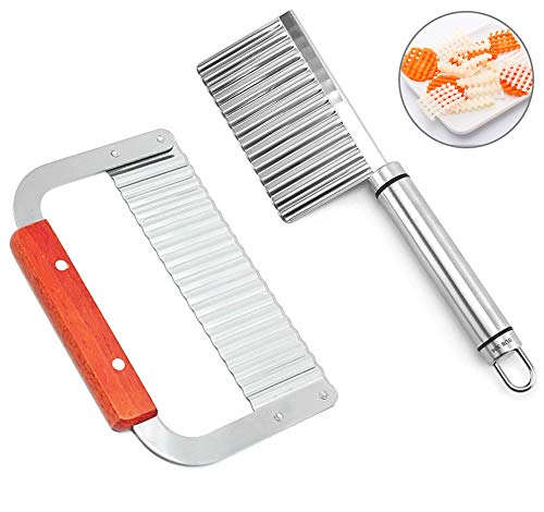 Gwolf Cortador de arrugas, 2 piezas de picadoras de arrugas, cortador de patatas para patatas fritas, herramienta de corte de arrugas, herramienta de cortador de patatas y verduras de acero inoxidable