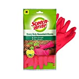 Scotch-Brite Rubber Heavy Duty Gloves (with Fresh lemon scent & inner cotton lining for comfort) Medium, Red (Pack of 2)