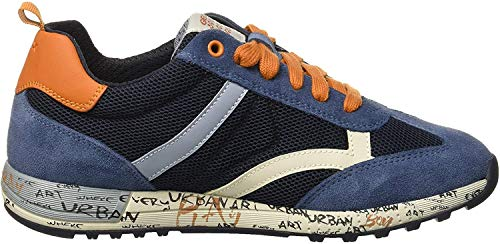 Geox Jungen J ALBEN Boy A Sneaker, Blau (Navy/Dk Orange C4218), 36 EU