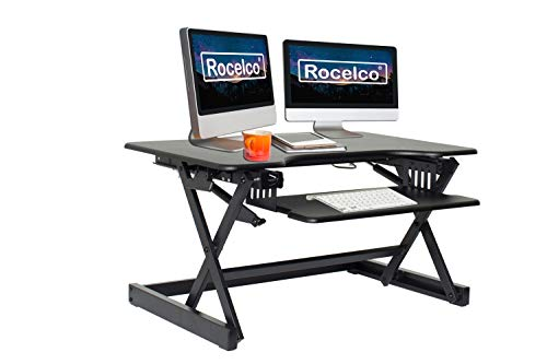 Rocelco 32' Height Adjustable Standing Desk Converter - Sit Stand Computer Workstation Riser - Dual Monitor Retractable Keyboard Tray Gas Spring Assist - Black (R EADRB2)