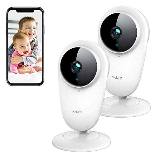 Victure 2pcs 1080P Video Baby Monitor WiFi Camera Home Camera Indoor Pet Security Camera with Night Vision 2-Way Audio Motion Detection for Home/Office/Baby/Nanny/Pet