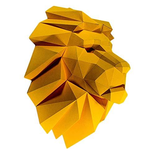 WLL-DP Modelo De Papel De Bricolaje Hecho A Mano 3D Cabeza De León Precortado Artesanía De Papel Escultura De Papel De Animales Rompecabezas De Origami Geométrico Decoración De Pared Juguete De Papel