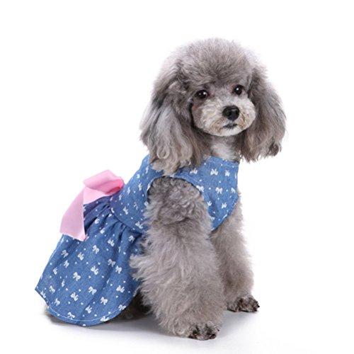 UEETEK Falda del Vestido del Perro, Camisas con Estilo del Chaleco del Perro del Bowknot Ropa del Verano del Animal doméstico para los Perros pequeños, tamaño M (Bowtie)